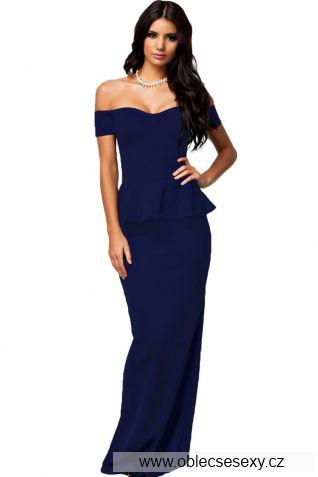 Modré peplum dlouhé šaty