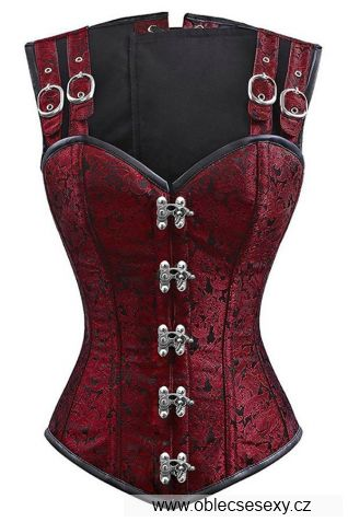 Luxusní korzet burgundská červená