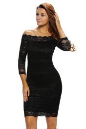 Černé midi šaty s krajkou