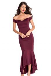 Večerní elegantní rudé společenské dlouhé šaty