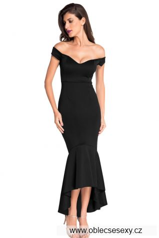 Elegantní černé dlouhé společenské šaty