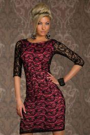 Krajkové černo růžové sexy šaty