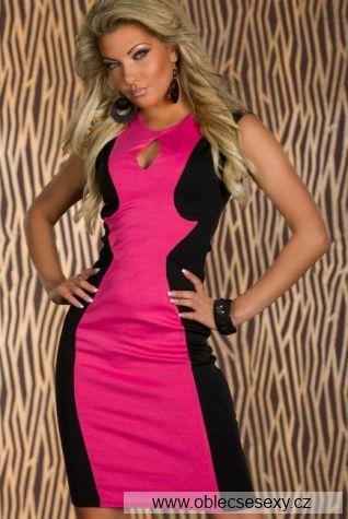 Midi černo růžové šaty