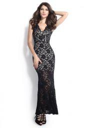 Černé společenské krajkové dlouhé šaty