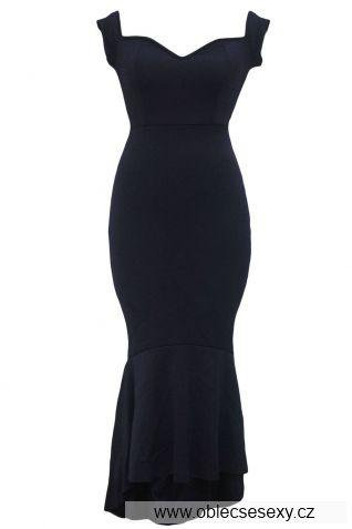 Večerní elegantní modré společenské dlouhé šaty