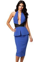 Midi modré peplum šaty s přehozem za krk