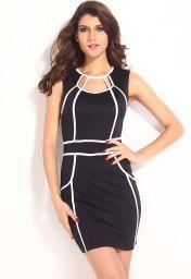 Černé krátké šaty s bílými proužky
