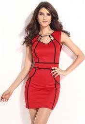 Červené krátké šaty s černými proužky