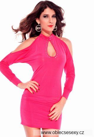 Růžové krátké clubwear šaty