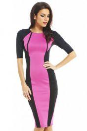 Midi levné černo růžové šaty