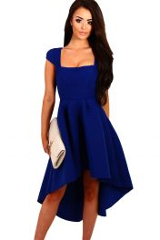 Modré šaty se sukní