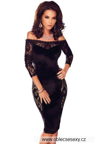 Černé žhavé bezramínkové midi šaty