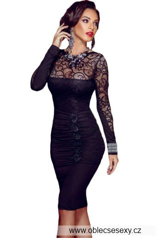 Midi černé krajkové šaty Elegant