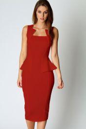Červené midi šaty bez rukávů Rozaria
