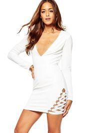 Bílé levné přiléhavé krátké šaty
