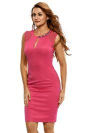 Levné růžové koktejlové letní šaty