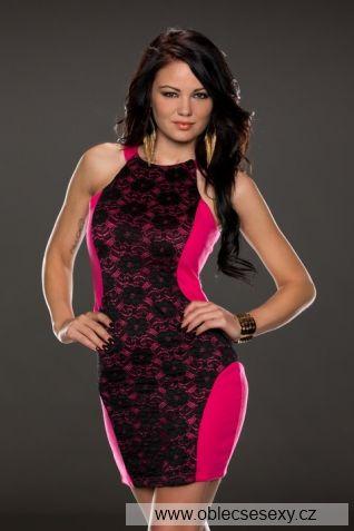 Černo růžové krajkové krátké levné šaty