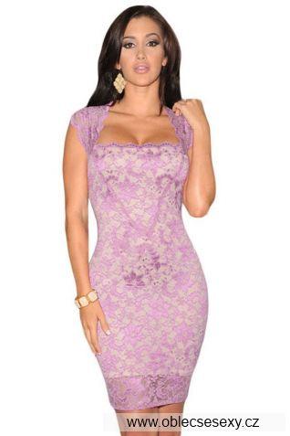 Růžové levné krajkové šaty výprodej