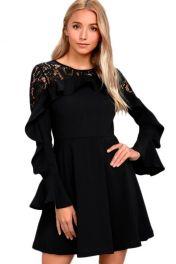 Černé krajkové šaty s volány