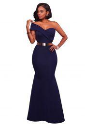 Módní dlouhé modré šaty s jedním ramínkem