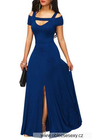 Tmavě modré dlouhé šaty