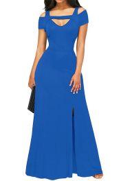 Modré dlouhé šaty