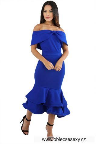 Modré dlouhé šaty mořská panna