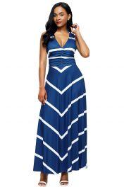 Modré dlouhé šaty s pruhy
