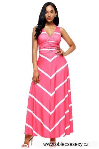 Růžové dlouhé šaty s pruhy