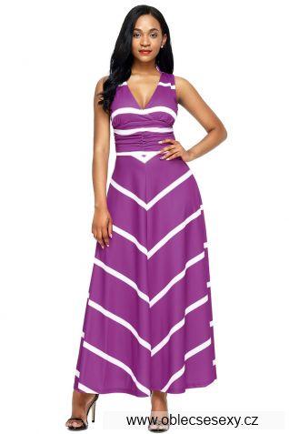 Fialové dlouhé šaty s pruhy