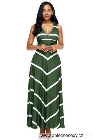 Zelené dlouhé šaty s pruhy
