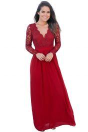 Červené krajkové dlouhé šaty s rukávy a výstřihem