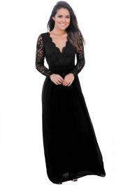 Černé krajkové dlouhé šaty s rukávy a výstřihem