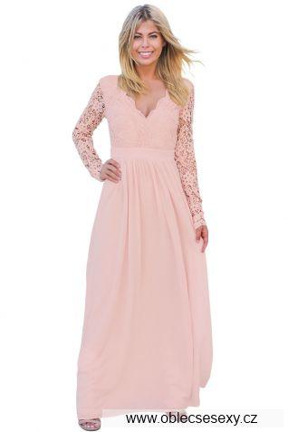 Růžové krajkové dlouhé šaty s rukávy a výstřihem