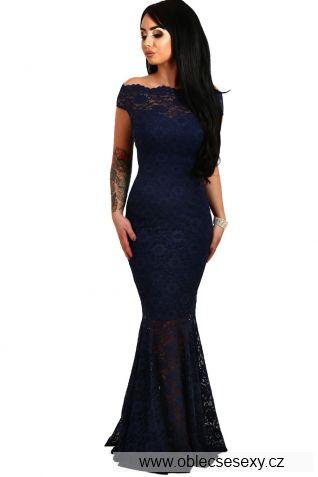 Tmavě modré večerní dlouhé šaty