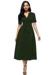 Olivově zelené středně dlouhé šaty