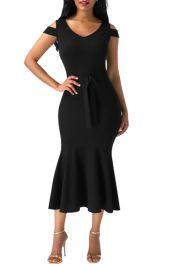 Černé mermaid šaty střední délky
