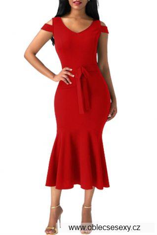 Červené mermaid šaty střední délky
