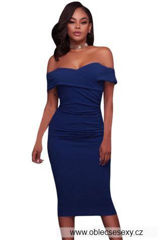 Modré středně dlouhé šaty