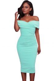 Azurové středně dlouhé šaty bez rukávů