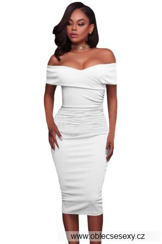 Bílé středně dlouhé šaty bez rukávů