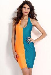 Modro oranžové clubwear šaty