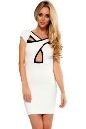 Krátké bílé šaty s překřížením