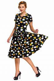 Černé retro šaty s puntíky a třešínkami