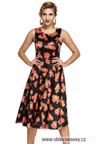 Černé květinové retro šaty