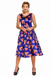 Modré květinové retro šaty