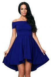 Modré šaty s volnou sukním