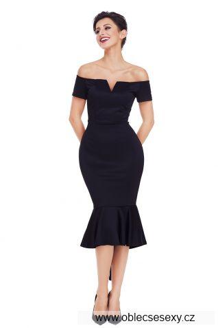Černé pouzdrové midi šaty
