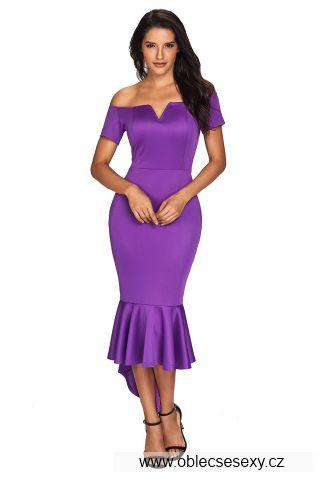 Fialové pouzdrové midi šaty