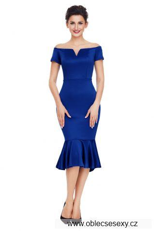 Modré pouzdrové midi šaty